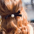 東京著衣-yoco 法式優雅絨布質感珍珠髮夾(共一色)