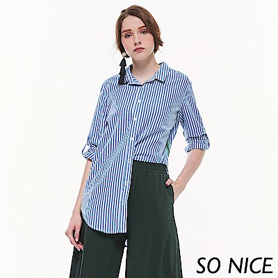 SO NICE都會長版織帶襯衫