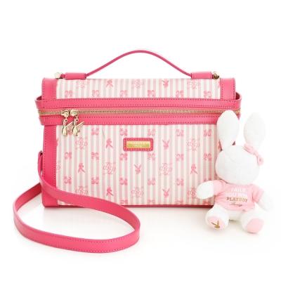 PLAYBOY-P-Peach-系列水平鍊口手提包