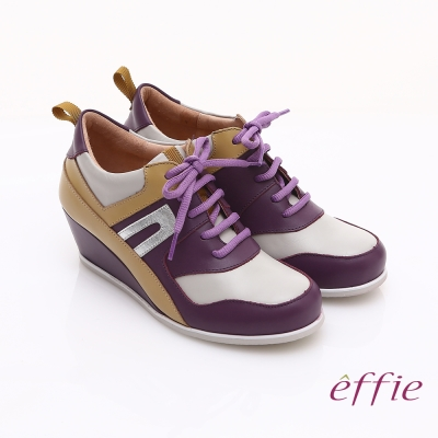 effie 俏麗悠活 金箔羊皮拼接牛皮撞色楔型休閒鞋 紫