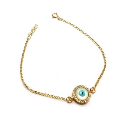 One of a kind 珍珠母貝 智慧之眼 金色手鍊 鑲白鑽 綠松石 正圓款