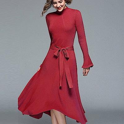 ABELLA 艾貝拉 素色羅紋針織喇叭長袖綁帶洋裝(四色/F 均碼)