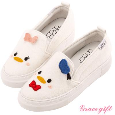 Disney collection by Grace gift立體拼接懶人休閒鞋 白