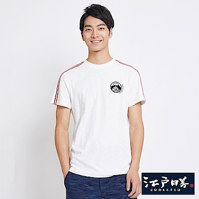 EDWIN 江戶勝織帶LOGO短袖T恤-男-米白