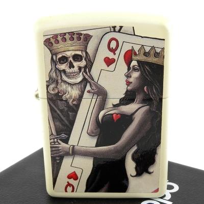 ZIPPO 美系~Skull King Queen Beauty-撲克骷髏國王與皇后設計