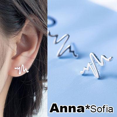 AnnaSofia 細線心跳節奏 925銀針耳針耳環(銀系)