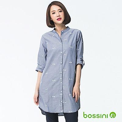 bossini女裝-長版長袖襯衫03藍紫