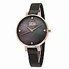NATURALLY JOJO 祕境炫彩不鏽鋼米蘭腕錶-黑x黑/33mm