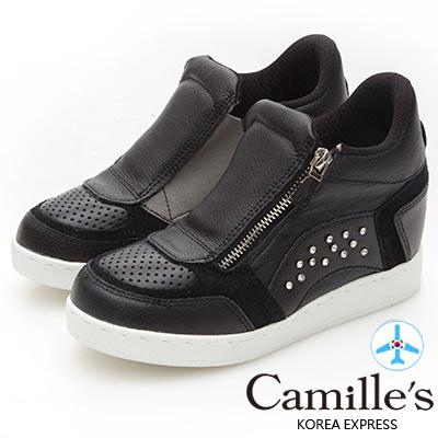 Camille's 韓國空運-正韓製-撞色繃帶牛皮水鑽內增高休閒鞋-黑色