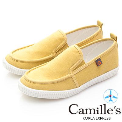 Camille's 韓國空運-正韓製-馬卡龍色帆布懶人休閒鞋-黃色