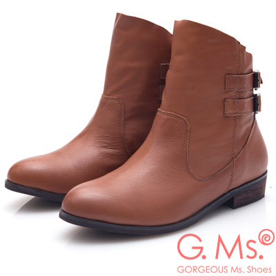 G.Ms. 牛皮斜口皮帶釦低跟短靴-棕色
