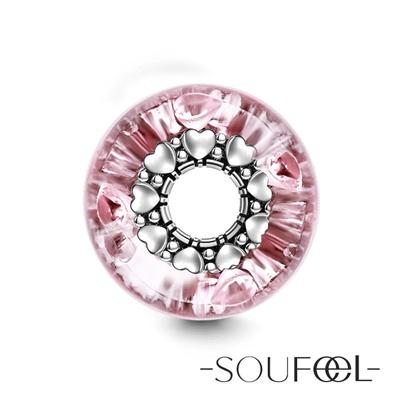 SOUFEEL索菲爾 925純銀珠飾 粉色愛戀 琉璃珠