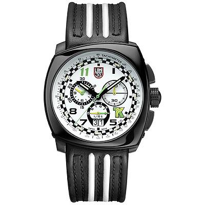 LUMINOX×Tony Kanaan 印第賽車限量計時皮帶腕錶-白xPVD黑/44mm