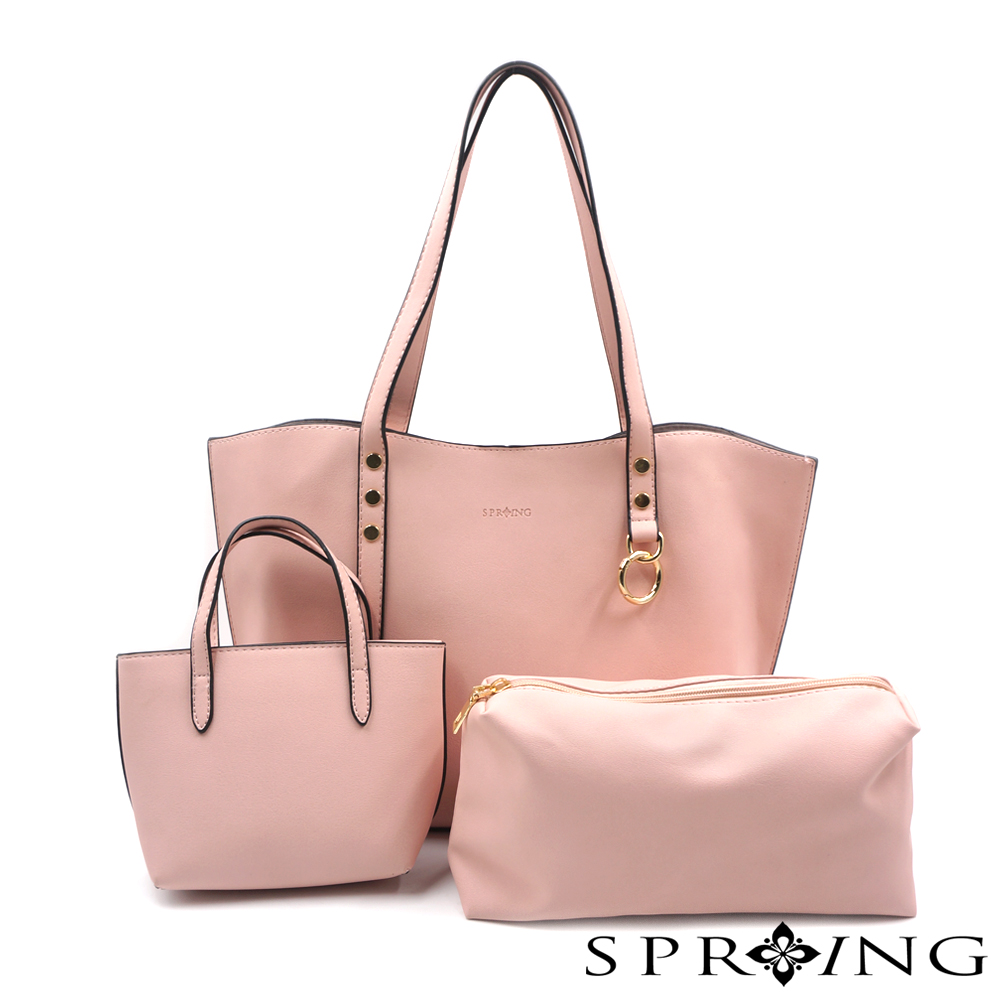 SPRING-elegance優雅女伶托特包三件組-粉