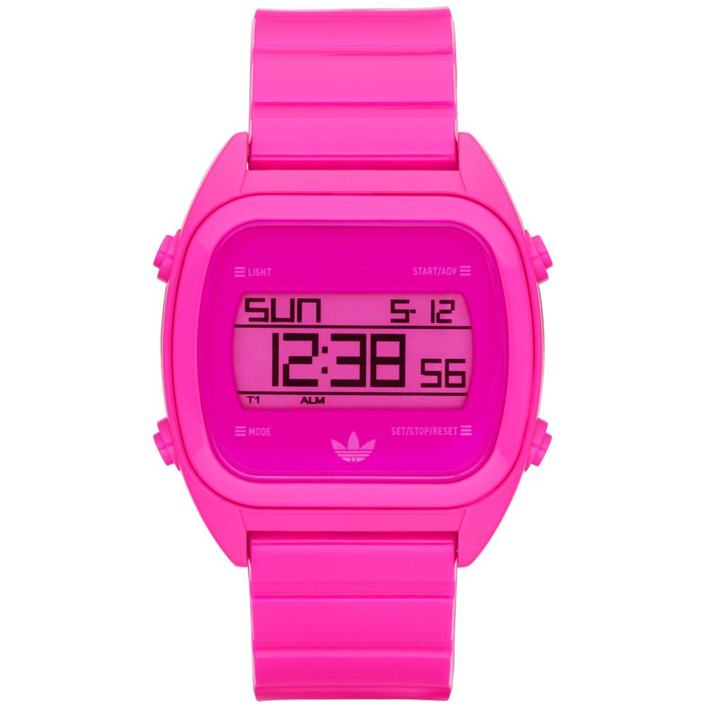 adidas線條創造三葉數位腕錶-桃紅38mm
