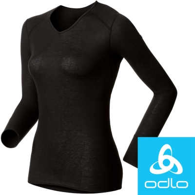瑞士【Odlo】190881 女銀離子V領保暖衛生衣(黑)