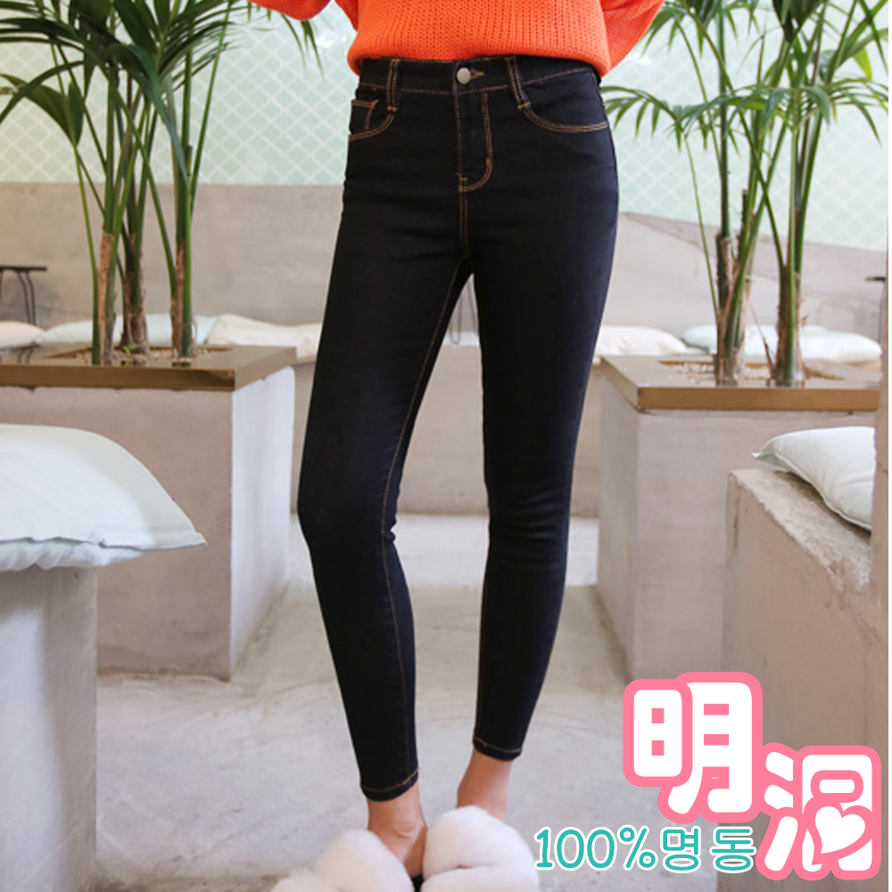 正韓 素面彈性縫線窄管牛仔褲 (共二色)-100%明洞
