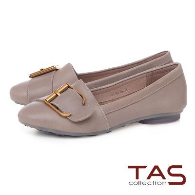 TAS 金屬皮扣帶拼接柔軟羊皮平底鞋-氣質灰