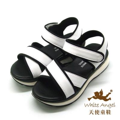 天使童鞋-C2417 交叉簡約高底涼鞋 (中-大童)-白