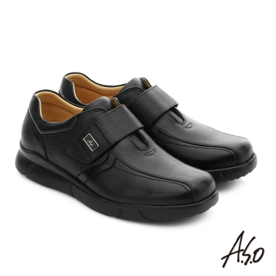 A.S.O 厚切氣墊 全牛皮超輕彈力氣墊休閒皮鞋 黑色