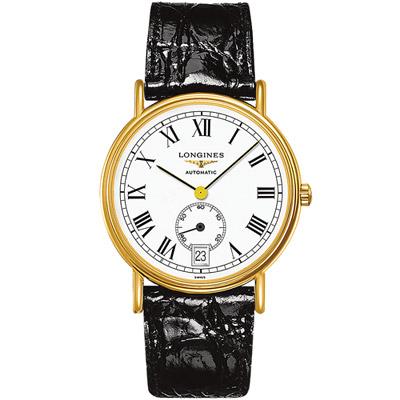 LONGINES 浪琴 時尚系列經典小秒針腕錶-黑色/38.5mm