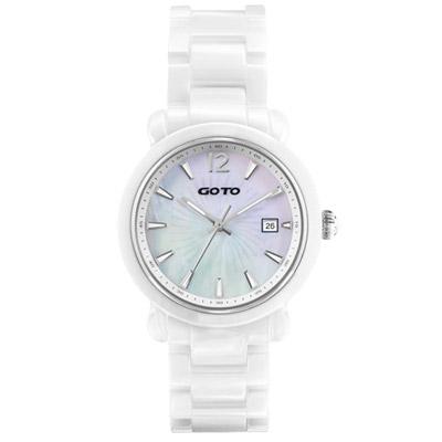 GOTO 躍動元素時尚陶瓷腕錶-白/40mm