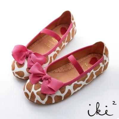 iki2童鞋-大手拉小手 甜甜質感蝴蝶結娃娃便鞋-紋路卡其
