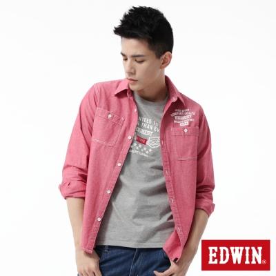 EDWIN 襯衫 印花牛津襯衫-男-紅色