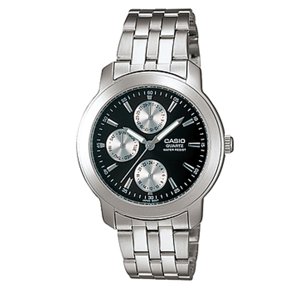 CASIO 簡潔時尚三眼指針錶(MTP-1192A-1A)-黑/36.5mm
