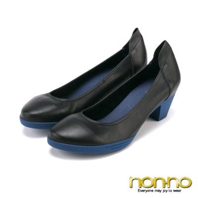 nonno-玩美都會-百搭簡約中跟鞋-深藍
