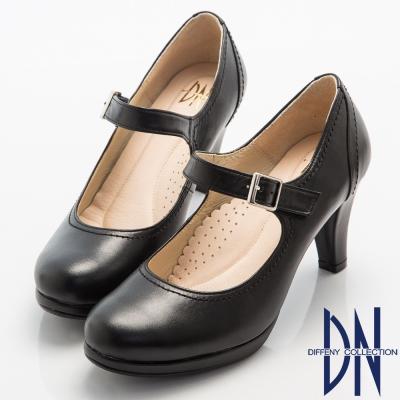 DN-氣質女神-全真皮經典魔鬼氈瑪麗珍鞋-黑