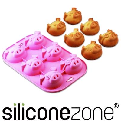 Siliconezone 施理康耐熱粉紅小豬造型瑪芬蛋糕模-粉色