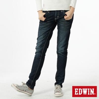 EDWIN俏皮時光 MISS BT後袋剪接B.F牛仔褲-女款-酵洗藍