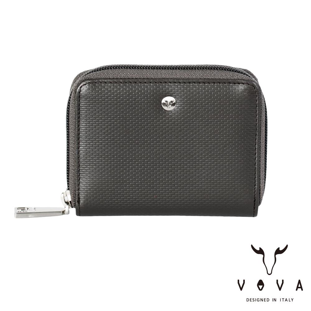 VOVA BRICK - 布瑞克系列6卡磚紋拉鍊零錢卡夾 - 灰色