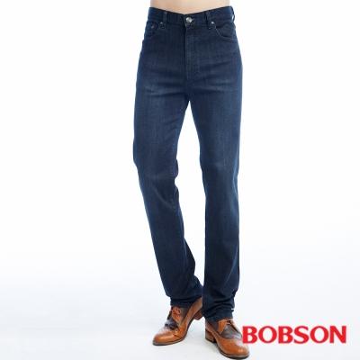 BOBSON   男款保暖高腰膠原蛋白直筒褲-深藍