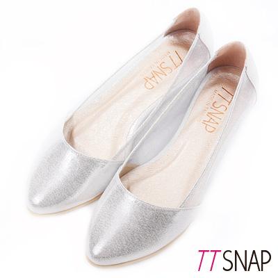 TTSNAP內增高-MIT素面小尖頭透膚網紗平底鞋 銀