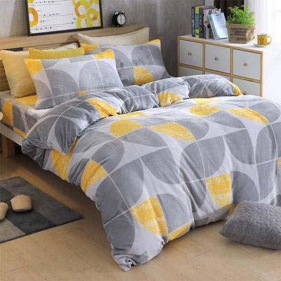 AmoreCasa 半月海灣 頂級法蘭絨雙人舖棉床包被套組