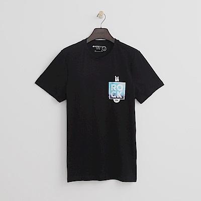 Hang Ten - 男裝 - 有機棉 ROCK印圖T恤-黑色