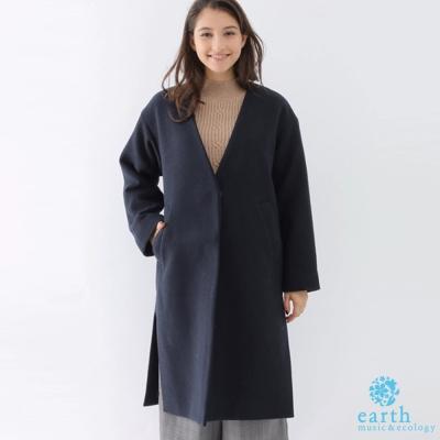 earth music V領口袋側開衩大衣外套