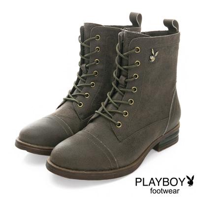 PLAYBOY 英倫新作 仿舊感個性綁帶短靴-綠(女)
