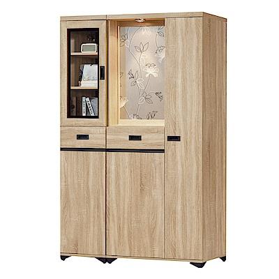 品家居  曼達4尺橡木紋雙面多功能屏風櫃/玄關櫃-118.7x39.7x189cm免組