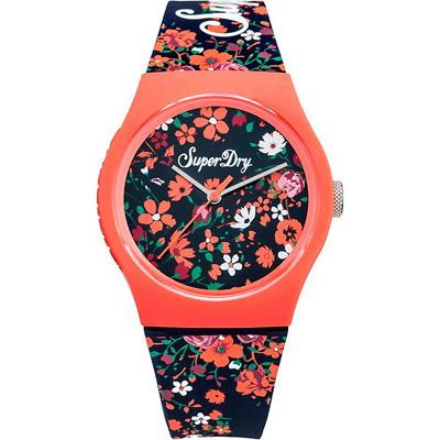 Superdry極度乾燥Urban花漾繽紛時尚手錶-橘花/38mm