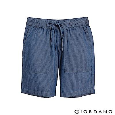 GIORDANO 女裝抽繩丹寧牛仔短褲- 82 中靛藍