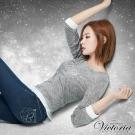Victoria 貼鑽刺繡拼接長袖T-女-灰色