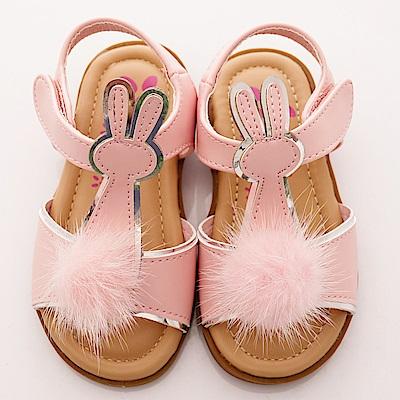 PV日系私藏~毛球白兔涼鞋款-7305粉(寶寶段)T1