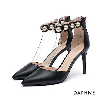 達芙妮DAPHNE 高跟鞋-繞踝花邊珠飾鉚釘高跟鞋-黑