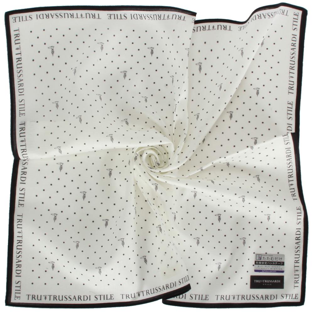 TRUSSARDI 滿版點點獵狗純棉帕巾-白