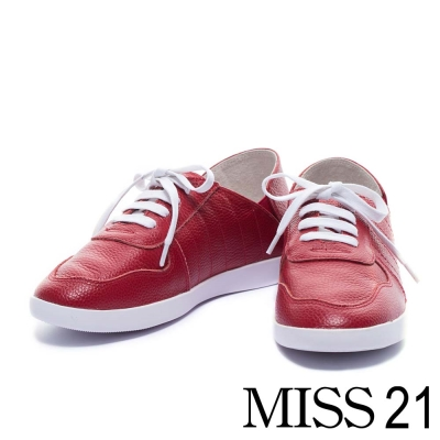 休閒鞋 MISS 21 簡約純色綁帶牛皮運動休閒鞋-紅