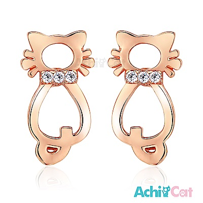 AchiCat 耳環耳針式 鏤空貓咪 玫瑰金