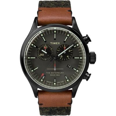 TIMEX 天美時Waterbury系列雙眼計時腕錶-灰x黑/42mm